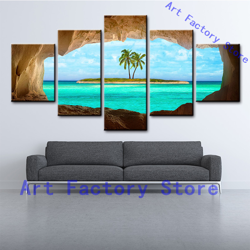 Canvas Wall Art Landscape Painting Wall Pictures For Living Room HD frame printing 5 pcs the palm trees on seaside pengda