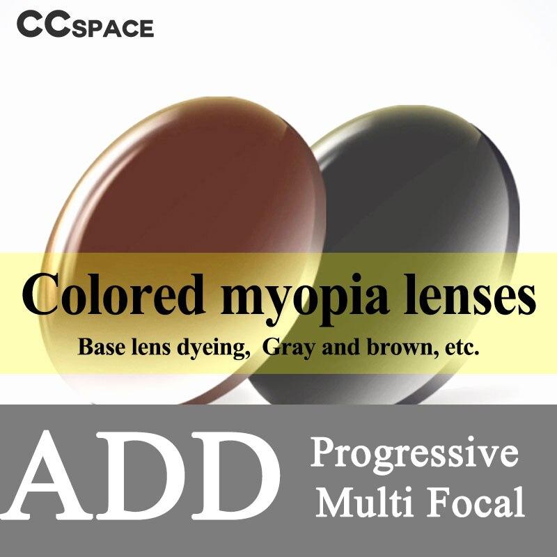 A Pair Dyed ADD Progressive Multifocal Optical Lenses Aspheric Prescription Scratch resistant 1 56 1 61