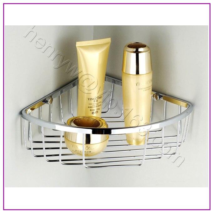 Retail Luxury Brass Bathroom Shelves Chrome Corner