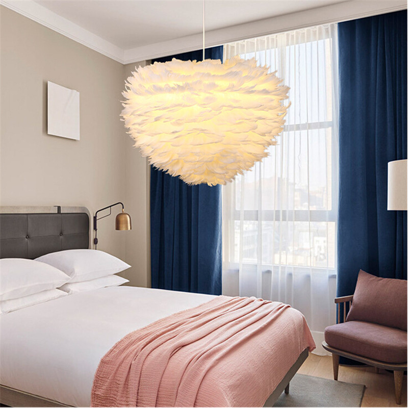 7W Contemporary Pendant Ceiling Lamp Lampshade White Feather Light for Home Living Room Decoration contemporary living space
