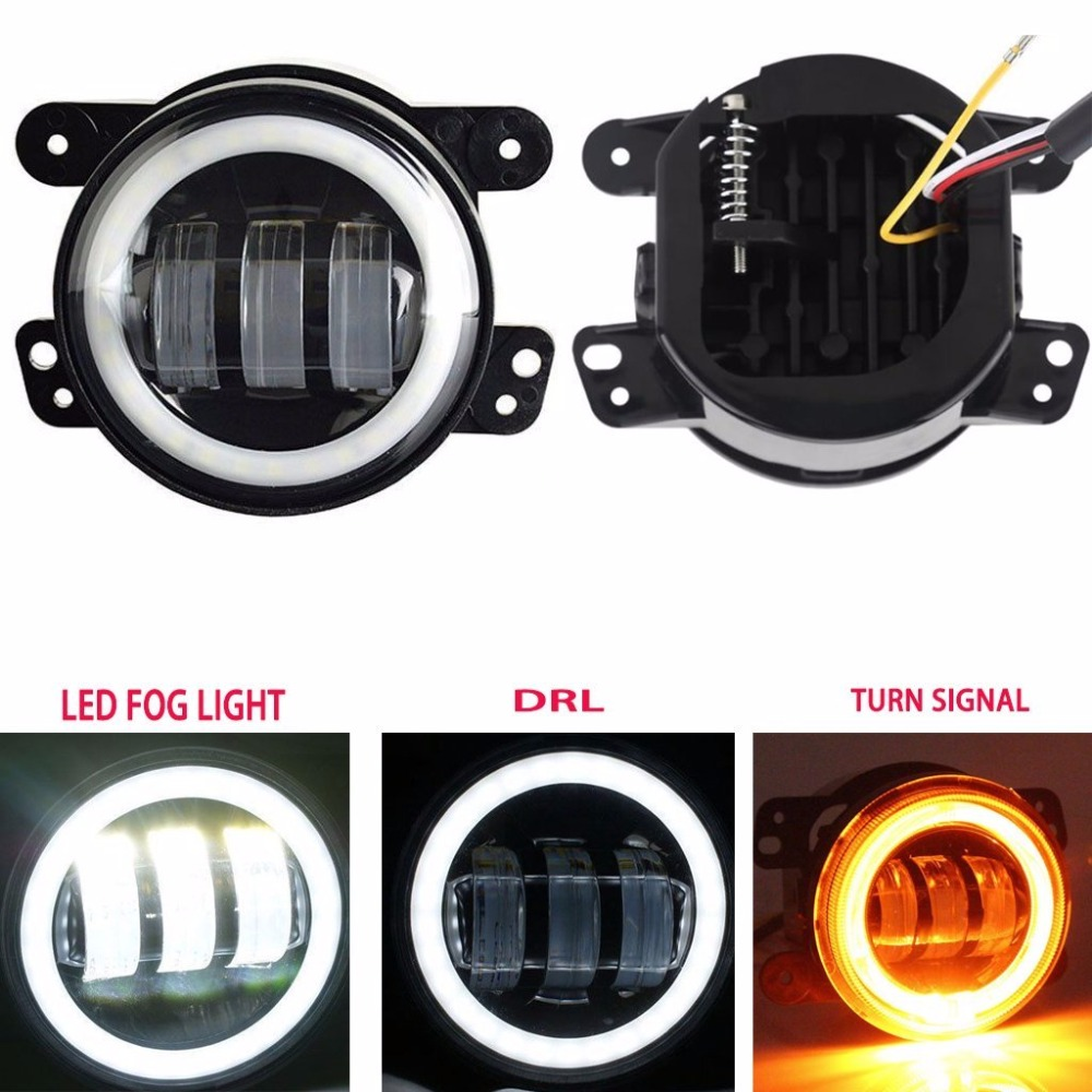 4 Inch LED Fog Lights 60W White Round Halo Ring DRL Angel Eye Amber Turn Signal for Jeep Wrangler JK LJ TJ