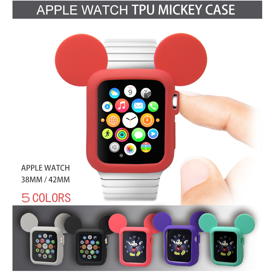 Silicone Case for apple watch 3 2 1 42mm 38mm Watch Case For Iwatch sreise 3/2/1 rubber case for apple watch Mickey Mouse светильник спот eurosvet 25331 25331 3 хром черный