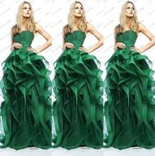 Neue Mode 2014 Eine Linie Emerald Green Abendkleid Spitze Rüschen Appliques Wulstige Lange Elegante Abendgesellschaft Kleider Vestido Longo
