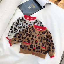 Nowa dostawa 2019 wiosna dzieci sweter lampart małe dziewczynki i chłopcy Cardigan Leopard ubrania dla chłopców maluch dziewczyna sweter Kid Coat tanie tanio Ms Qiman COTTON W stylu Preppy GEOMETRIC REGULAR O-neck Unisex Pełna NONE Pasuje mniejszy niż zwykle proszę sprawdzić ten sklep jest dobór informacji