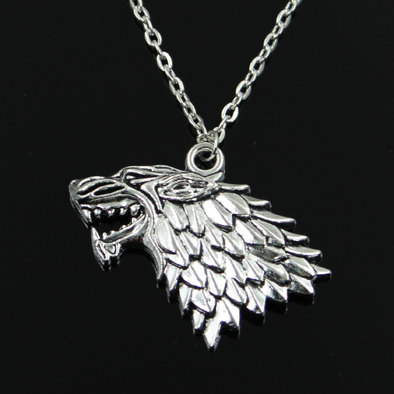 new fashion ice and fire dire wolf Pendants round cross chain short long Mens Womens silver necklace Jewelry Gift