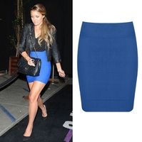 Spring 2014 New Fashion Female Bandage Skirt Women Pencil Bodycon Mini Short Candy Colors Summer Blue