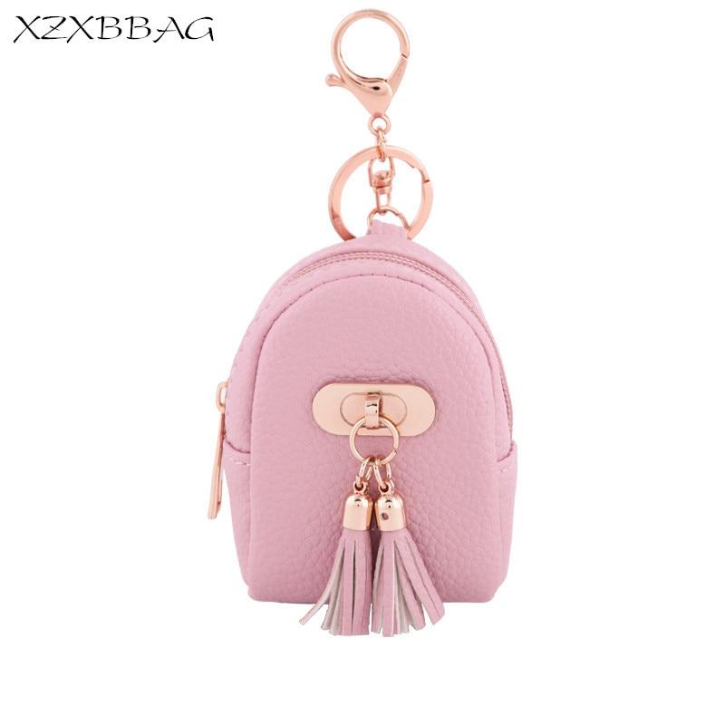 XZXBBAG Female Fashion Tassel Zipper Mini Coin Purses Women Keychain Zero Wallet PU Change Purse Girls Money Bag Small Wallet