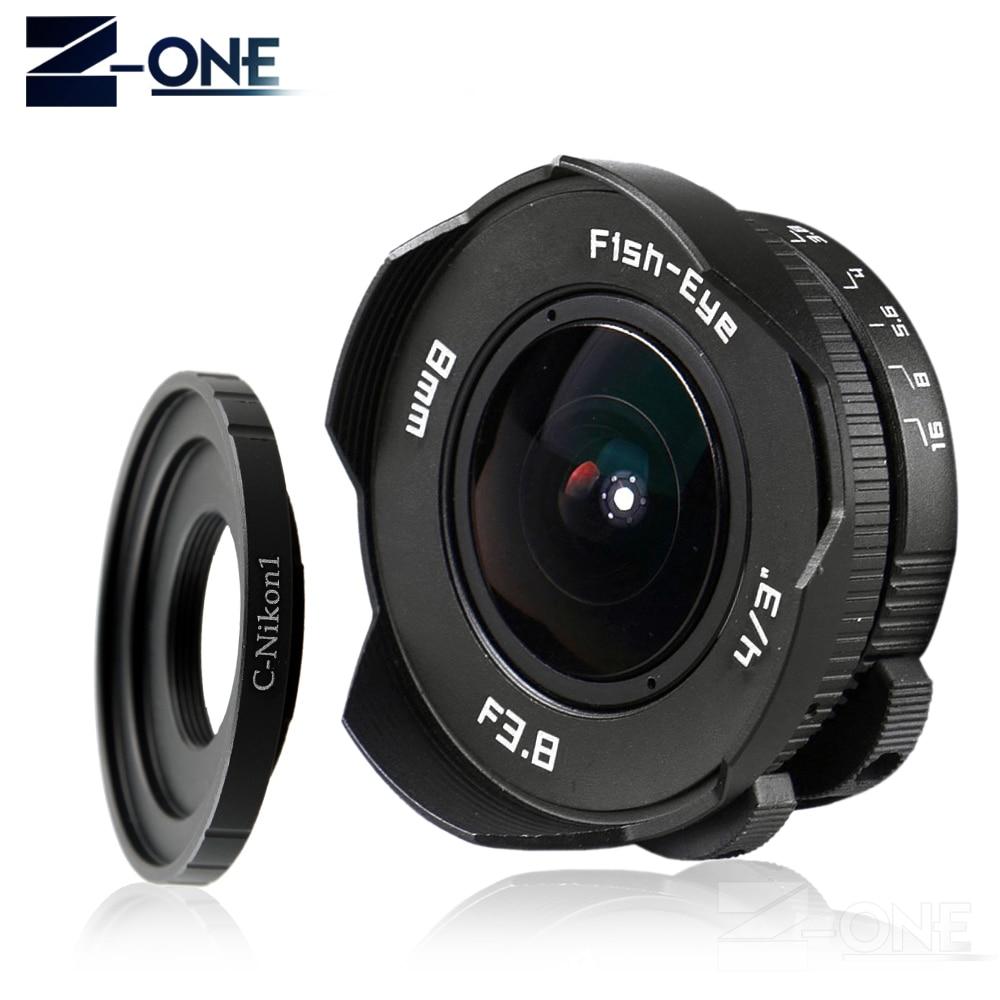 8mm F3.8 Fish-Eye C mount Grand Angle Fisheye Lentille longueur Focale Fish eye Lentille costume Pour Nikon 1 AW1 V1 V2 V3 J1 J2 J3 J4 J5 S1 S2