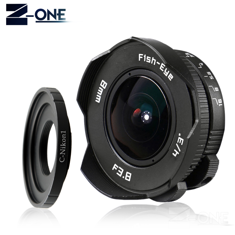 8mm F3.8 Fish-eye C mount Wide Angle Fisheye Lens Focal length Fish eye Lens Suit For Nikon 1 AW1 V1 V2 V3 J1 J2 J3 J4 J5 S1 S2 цена