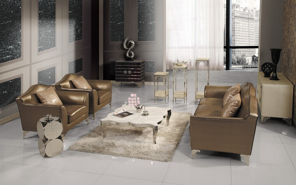 2015Newest Design and best quality Genuine leather with Solid wood living Room sofa 1+1+3 seater tyle sofa three seater with hand carved solid wood frame