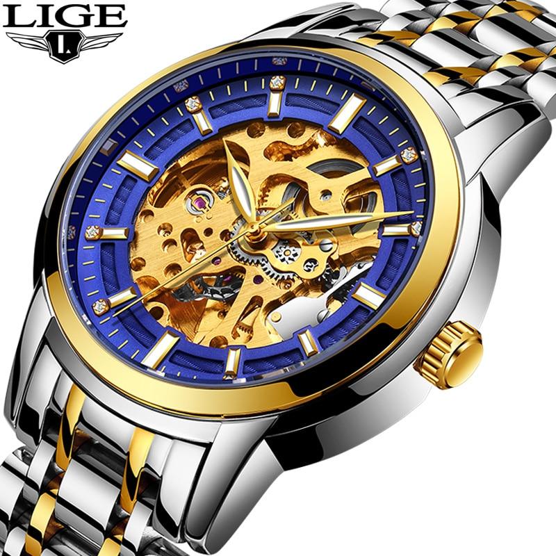 LIGE Automatique machines Squelette Mens Montres De Luxe De Mode D'affaires Montre En Or Hommes Sport Étanche Horloge Relogios masculinos