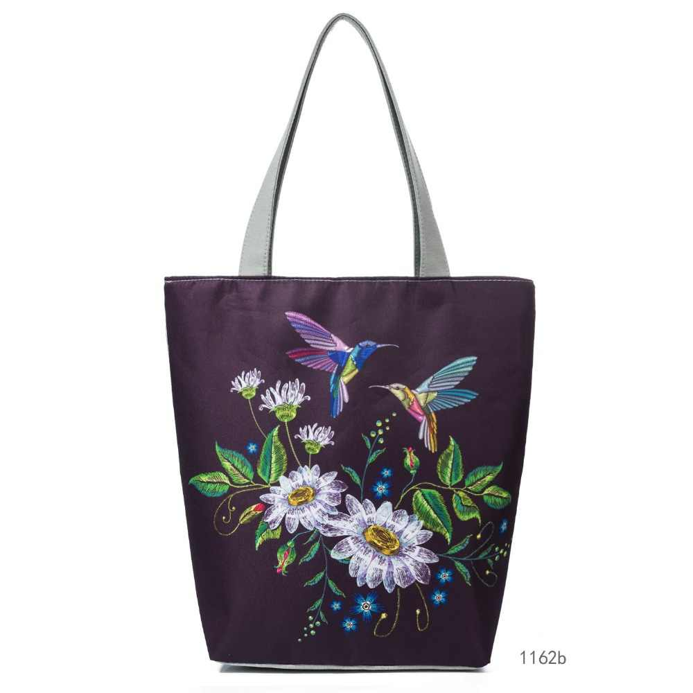 Miyahouse Lmitation Embroidery Female Canvas Handbag Colorful Floral And Bird Printed Lady Shoulder Bag fashion Summer Women Bag