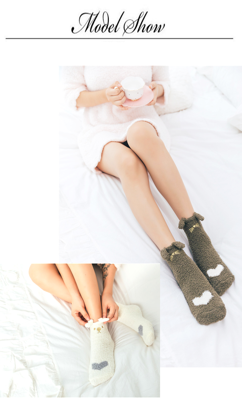 Ladies Winter Japanese Embroidery Animal Corals Velvet Stereo Ear Thick Warm BedS Bed Home Fluffy Socks Coral Velvet Foot Cover (10)