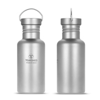 750ml / 550ml TOMSHOO Full Titanium Water Bottle Ultralight Outdoor Camping Hiking Cycling Water Bottle with Extra Plastic Lid