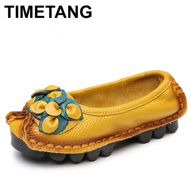 73ea5002db6 TIMETANG Hot Sell Designer Handmade Women Genuine Leather Shoes Women Flats  Shoes 5 Colors Vintage Ballet Flats Shoes Woman C327