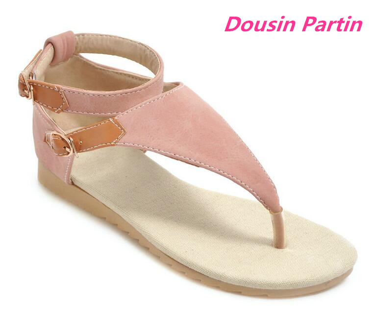 Dousin Partin 2019 Women Sandals PU Leather Buckle Mixed Color Casual T strap Round Open toed