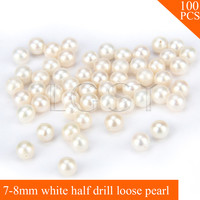 FREE SHIPPING, Beautiful 7 8mm AAA White saltwater half drill round akoya pearls 100pcs for fitting Jewelries