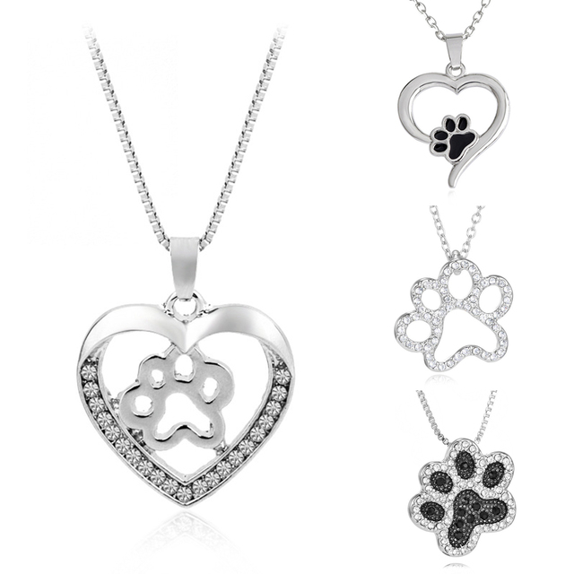 Silver Crystal Cute Cat Dog Puppy Paw Print Heart Necklace Women Statement Animal