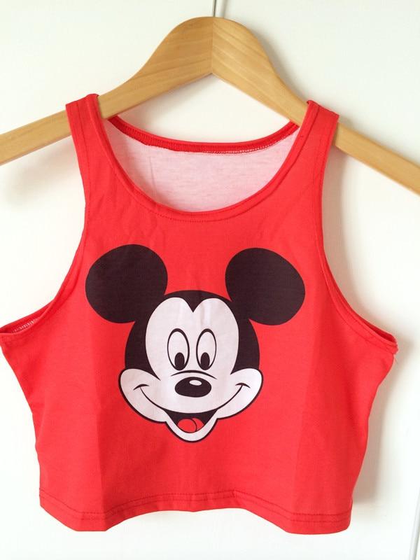 5057edd22297b 2015 quality casual style short sleeve Mickey crop top tees 100% cotton  loose 3D print crop top tank Harajuku Sexy vest