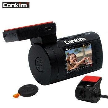 Conkim Mini 0906 Duas Câmeras GPS DVR Registro 1080 P Full HD Câmera de Visão Traseira Do Carro Capacitor DVR de Lente Dupla guarda de estacionamento Sensor