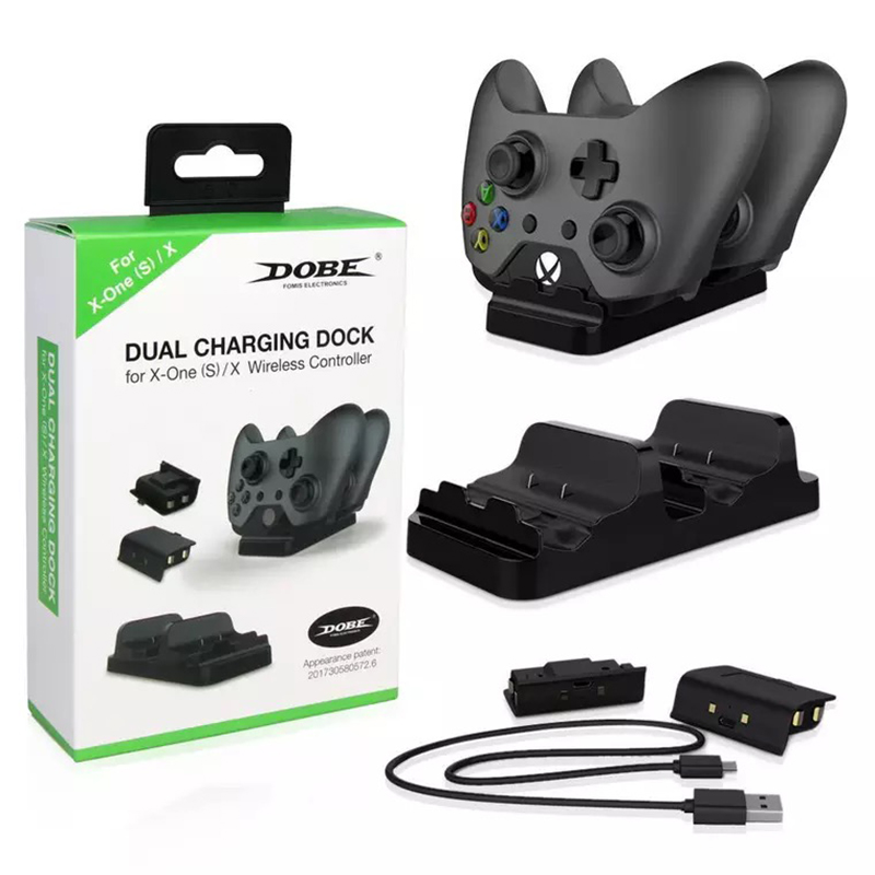 цена на Dual Charging Dock Station Charger with 2 Rechargeable Batteries Fast Charging for XBOX ONE, Xbox One S for Xbox one X Gamepad