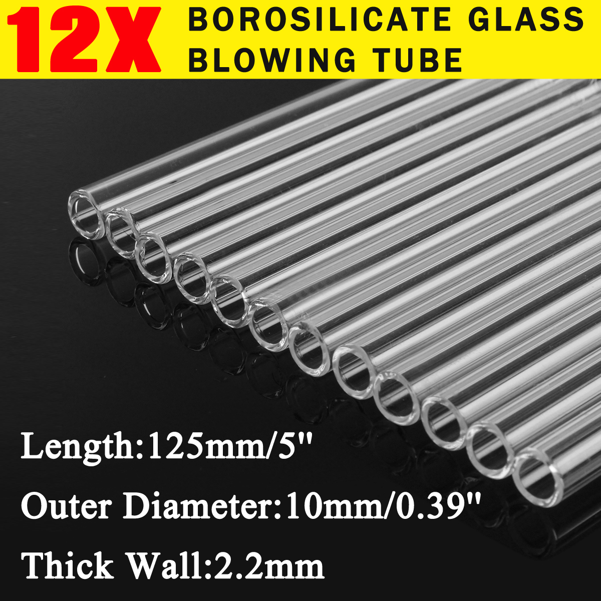 """3 Piece of 8/"""" Glass Pyrex Blowing Tubes 12 mm OD 2mm Thick Wall Tubing Colored"""