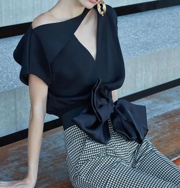 SHTONGHUA New Fashion Women 2019 Summer Formal Suits Black Bow Short Sleeve Blouse + High Waist White plaid Pencil Skirt Set