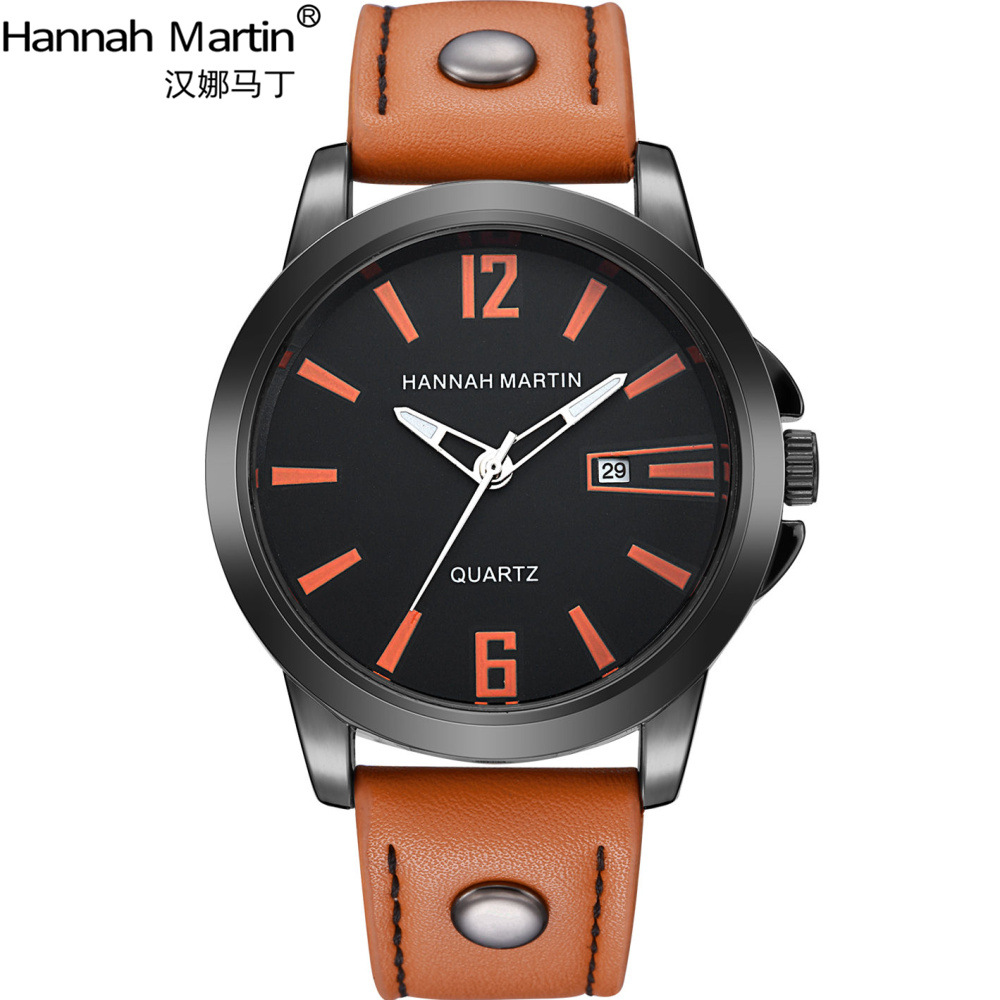 Hannah Martin Top Brand Luxury Business Watch Men Watch Fashion Leather Watches Auto Date Men's Watches Clock relogio masculino redear top brand wood watch men women wooden watches japan miyota fashion watch leather clock relogio feminino relogio masculino