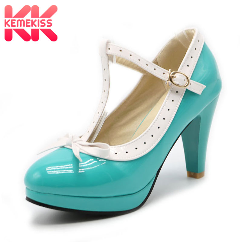 KemeKiss Size 32-48 Women High Heels Shoes Bow T Strap Pumps Summer Shoes Women Office Lady Platform Daily Dress Party Footwear kemekiss size 31 45 women sweet high heel shoes women ruffle ankle strap thick heels pumps party daily work shoes women footwear