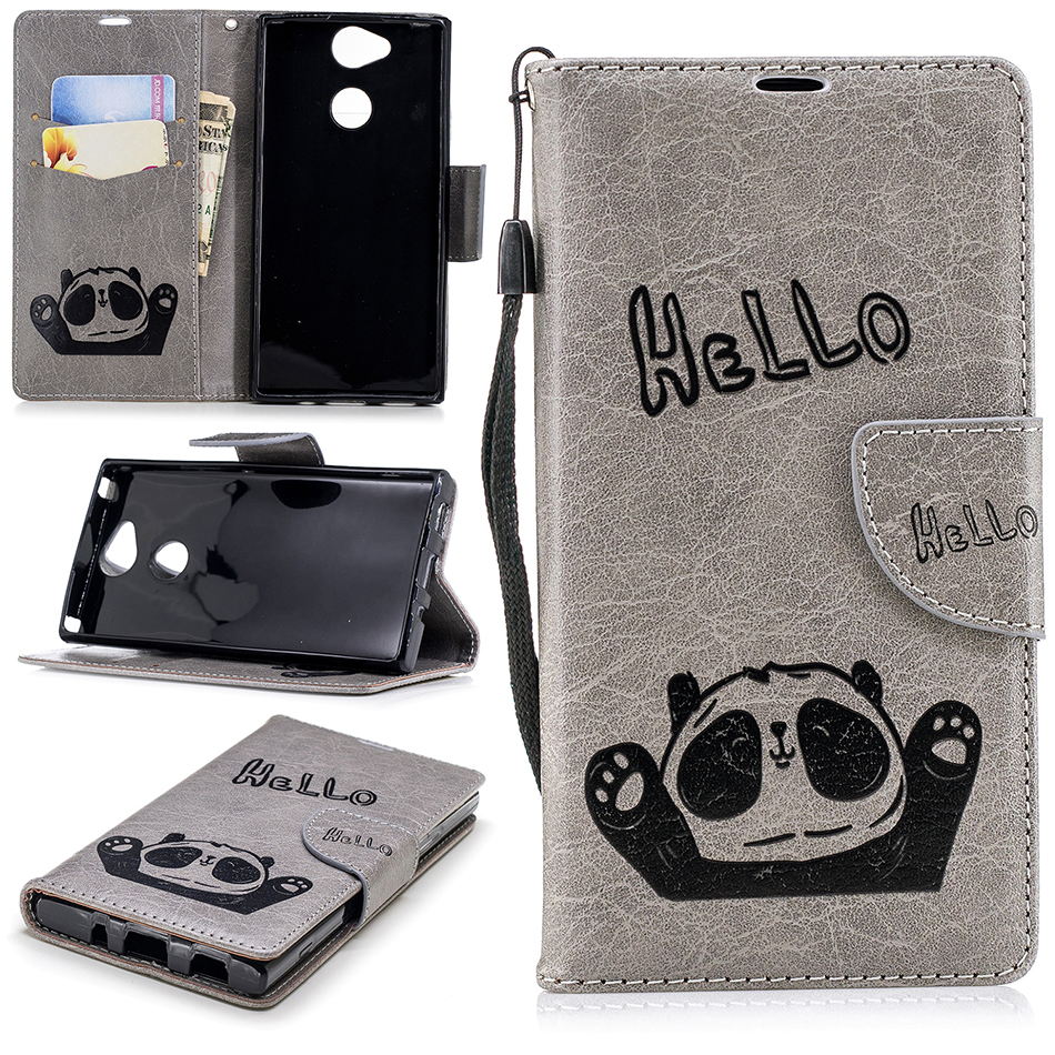 Genteel Retro Leather Phone Case Sfor 8 Plus 7 For Iphone 5 5s Se Panda Stand Tpu Flip Cases For Sony Xperia L2 Cover For Sony Xa2 B117
