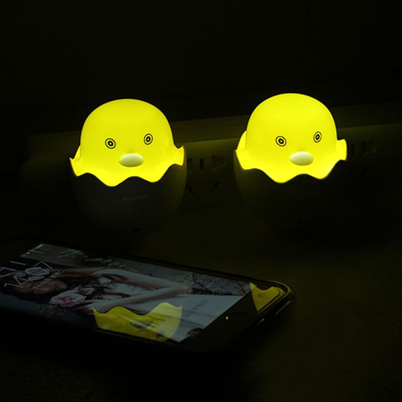 EU US Plug Yellow Duck Wall Socket Lamps LED Night Light 220V 110V Light Control Sensor Bedroom Lamp Gift Children Cute Decor