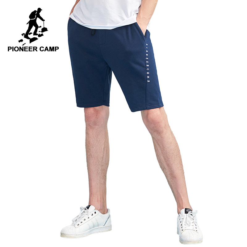 Pioneer Camp new arrival summer casual shorts men brand-clothing simple cotton male shorts dark blue black grey ADK801163