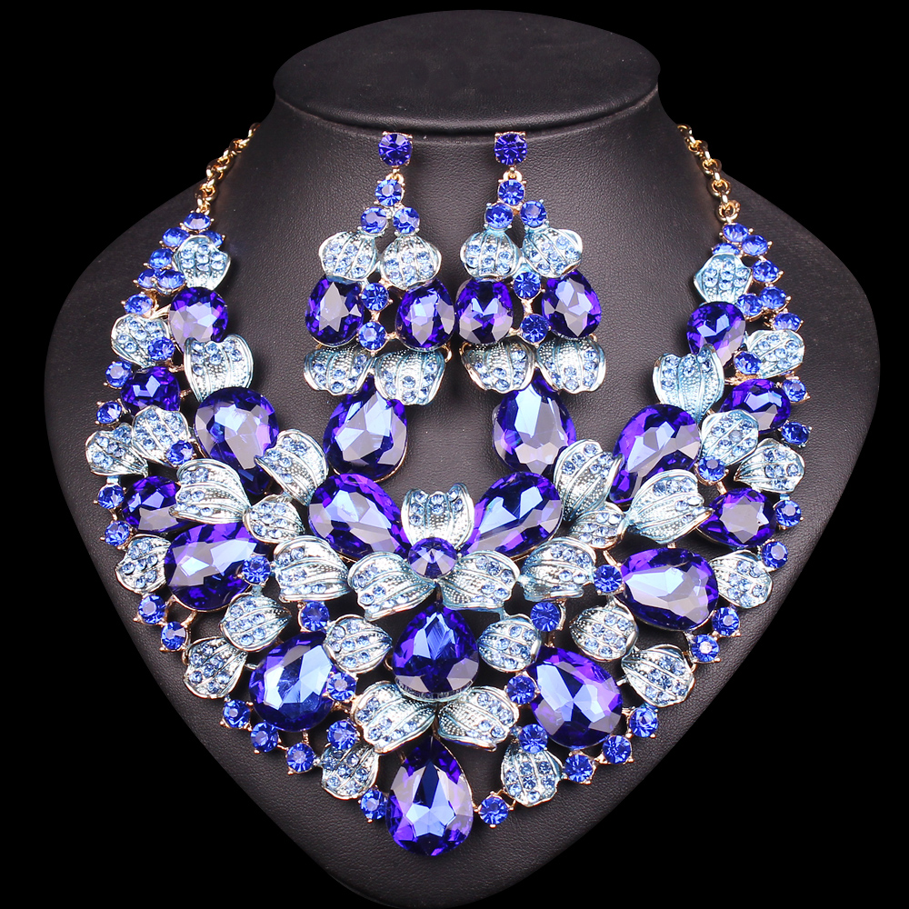 Bridal classics necklace sets mj 259 - 5 Colors Beautiful Leaf Indian Bridal Jewelry Set Rhinestone Party Wedding Prom Costume Accessories Necklace Earring