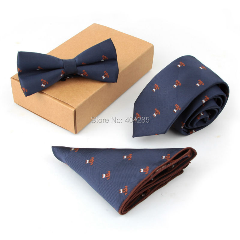 Men's Wedding Party Neck Tie Sets with Bow Tie Pocket square for Business Handkerchiefs Birthday Gift