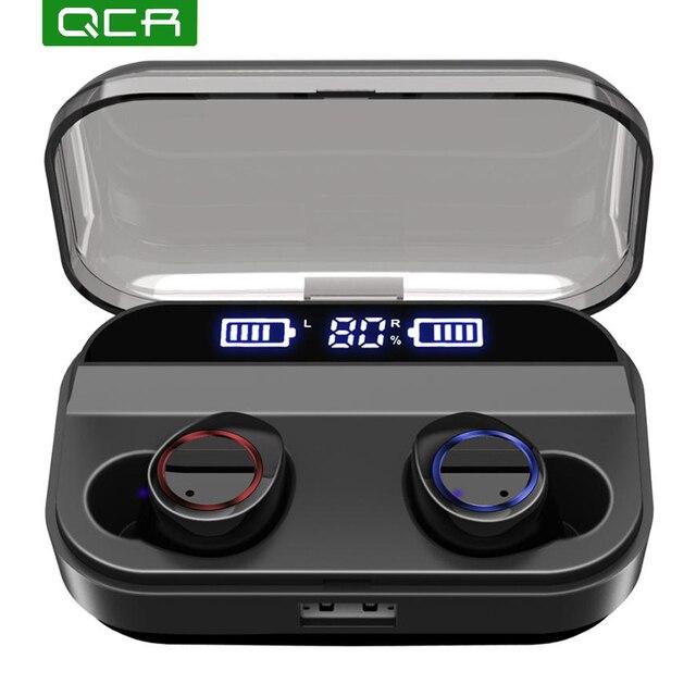QCR TWS беспроводные наушники Bluetooth 5,0 Наушники дисплей питания сенсорный контроль спортивные стерео беспроводные наушники гарнитура зарядная коробка