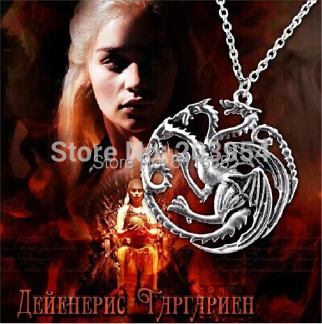Movie Free shipping 12pcs/lot the Game of Thrones Targaryen Pendant necklace fashion jewelry wholesale trendy steampunk style