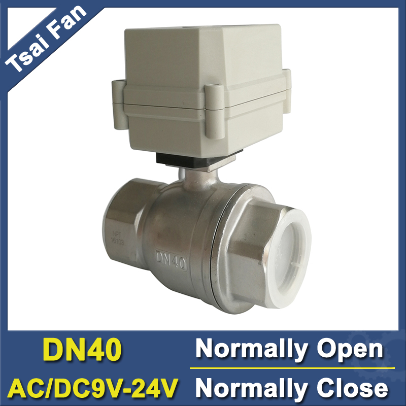AC/DC9V-24V 2/5Wires Electric Water Valve 2-Way Stainless Steel Full Port BSP or NPT 11/2'' DN40 Normally Closed Motorized Valve tf15 s2 b dn15 stainless steel normal close open valve 2 5 wires bsp npt 1 2 ac dc9v 24v electric water valve