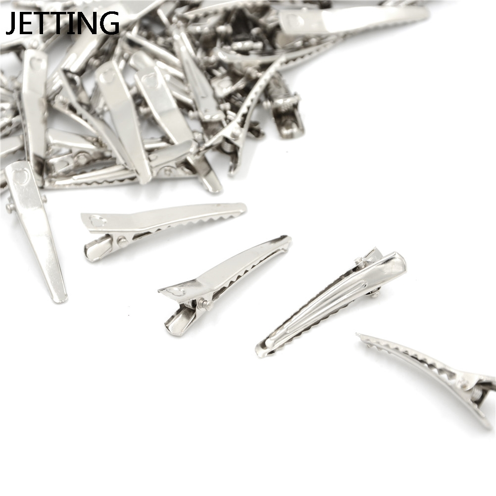 100 Pcs/PACK 4.0cm Silver Flat Metal Alligator Hair Clips Barrette Hairpins For Bow DIY Hair Accessories