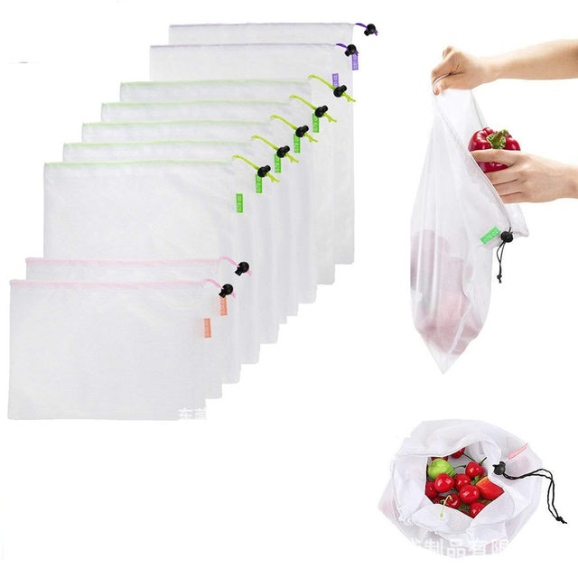 1PC Eco Friendly Reusable Mesh Produce Bags Transparent Washable Grocery Mesh Bags for Storage Fruit Vegetable Toys Sundries