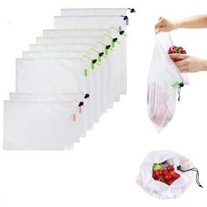 Image 1 - 1PC przyjazne dla środowiska siatka wielokrotnego użytku torby z siatki przezroczyste zmywalny sklep spożywczy worki siatkowe do przechowywania owoców warzywa, zabawki rozmaitości