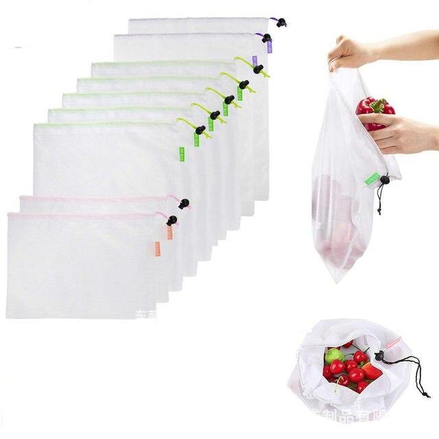 1PC przyjazne dla środowiska siatka wielokrotnego użytku torby z siatki przezroczyste zmywalny sklep spożywczy worki siatkowe do przechowywania owoców warzywa, zabawki rozmaitości