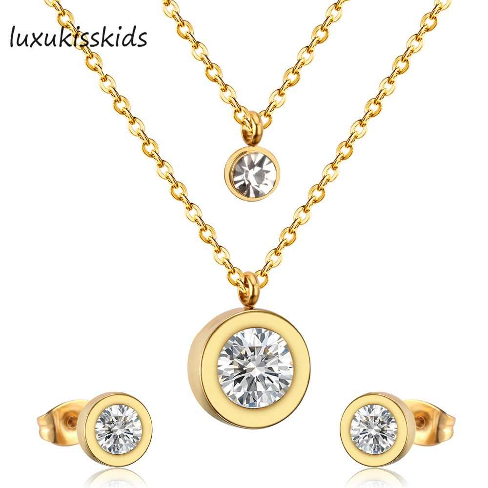 LUXUKISSKIDS Jewelry Sets Top 316L Stainless Steel Zircon Double Round Pendant Necklace Small Stud Earring Wedding Jewelry Set