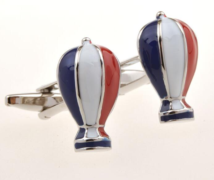 10Pairs/lot Hot Air Balloon Cufflinks 5 Colors Enamel Fire Balloon Cuff Links Men's Jewelry Accessory Wholesale
