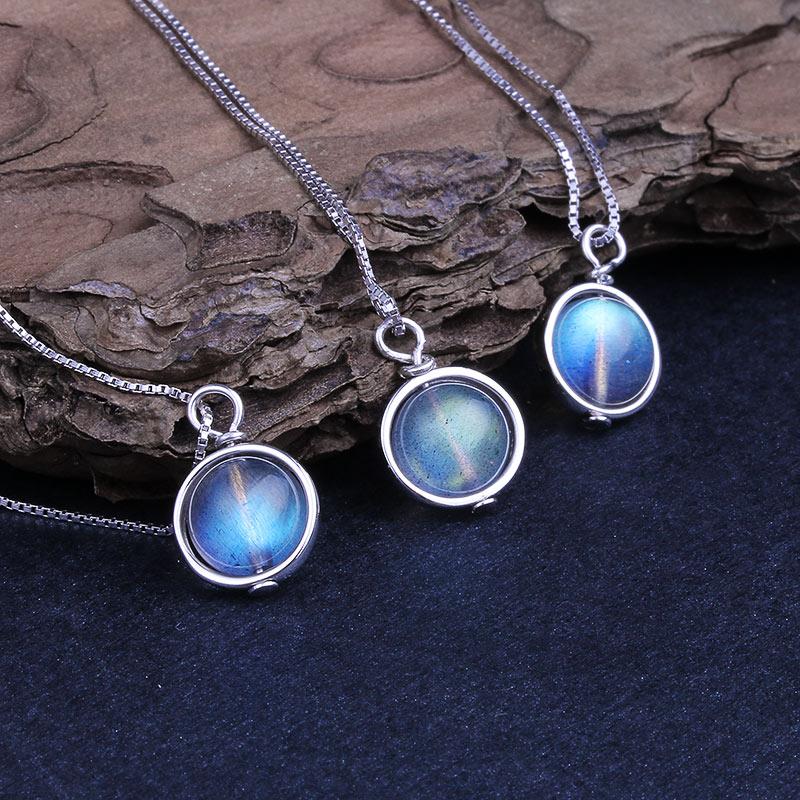 HTB18PysUpzqK1RjSZFoq6zfcXXaH Real 925 Silver Natural Labradorite Stone Pendant Necklace For Women Lucky Bead Fine Jewelry Gemstone bijoux