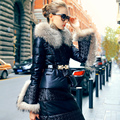 Luxury Real Large Fur Collar Parka For Women Winter 2016 PU Leather Duck Down Jacket Women Fashion Thick Warm winter coat women