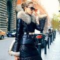 Verdadeiro luxo Grande Gola De Pele Parka Inverno Para As Mulheres 2016 PU Pato Para Baixo Jaqueta de couro Da Forma Das Mulheres Grosso casaco de inverno Quente mulheres