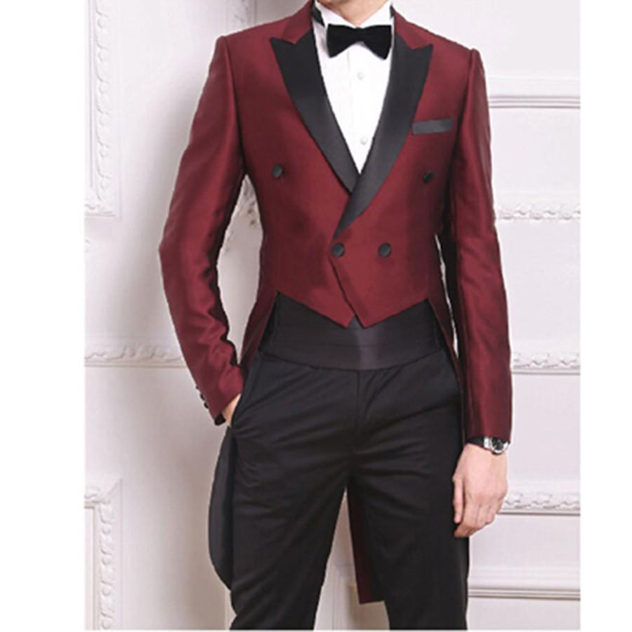 New Tailcoat Burgundy Suits for Mens Weddings Vogue Groom Tuxedos Back Vent Double Breasted Man ...