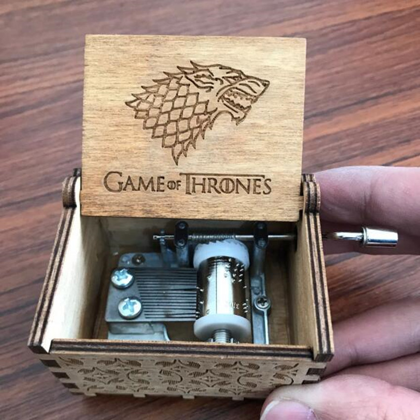 Christmas Gift Movie Game Of Thrones Starck Family Direwolf  Cosplay Props  Hand Cranked Music Box Engraved Wooden Crafts Custom
