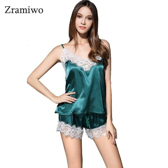 Атласная Cami и Краткое LaceTrim Пижамы Мода Растениеводство Топ и Шорты Комплект Медовый Месяц Ночные Рубашки V-образным Вырезом Пижамы