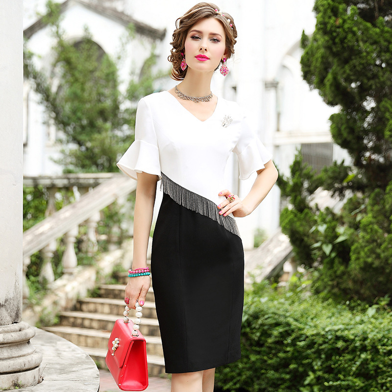 2019 new Summer office Celebrities dress Women ladies Patchwork Tassel Party Dress Plus Size Vintage V